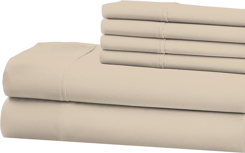 S.L. Home Fashions, Inc. SOP-8526 Opulence 800 TC 6 Pc. Full Sheet Set Taupe