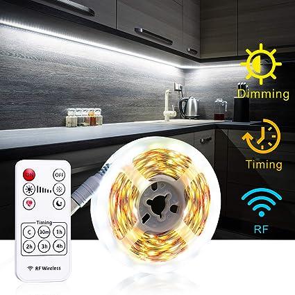 Under Cabinet Lighting With Rf Remote Timing Function White Led Strip Lights 6000k 13ft Flexible Full Kit Diy Kitchen Cupboard Desk Monitor