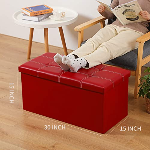 Large Storage Ottoman Bench 2-Pack 30″X15″X15″ Folding Storage Box Chest