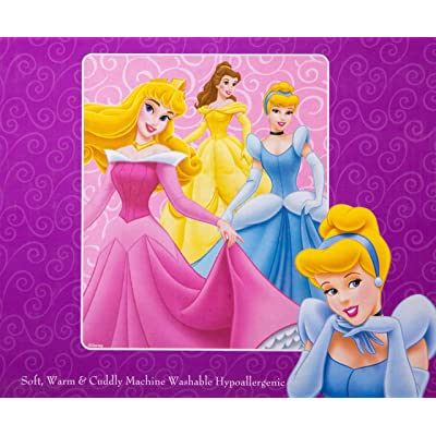 Pink Aurora, Belle, and Cinderella Disney Princess Plush Throw Blanket: Home & Kitchen
