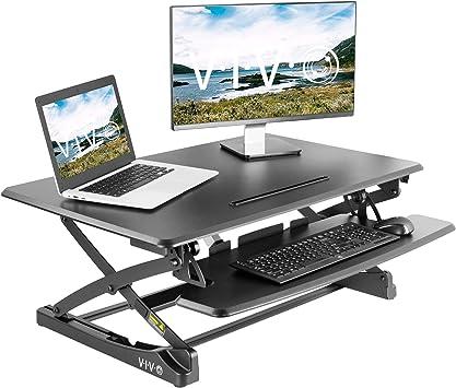 Electric Height Adjustable Computer Desk Sit Stand Tabletop Desktop Converter