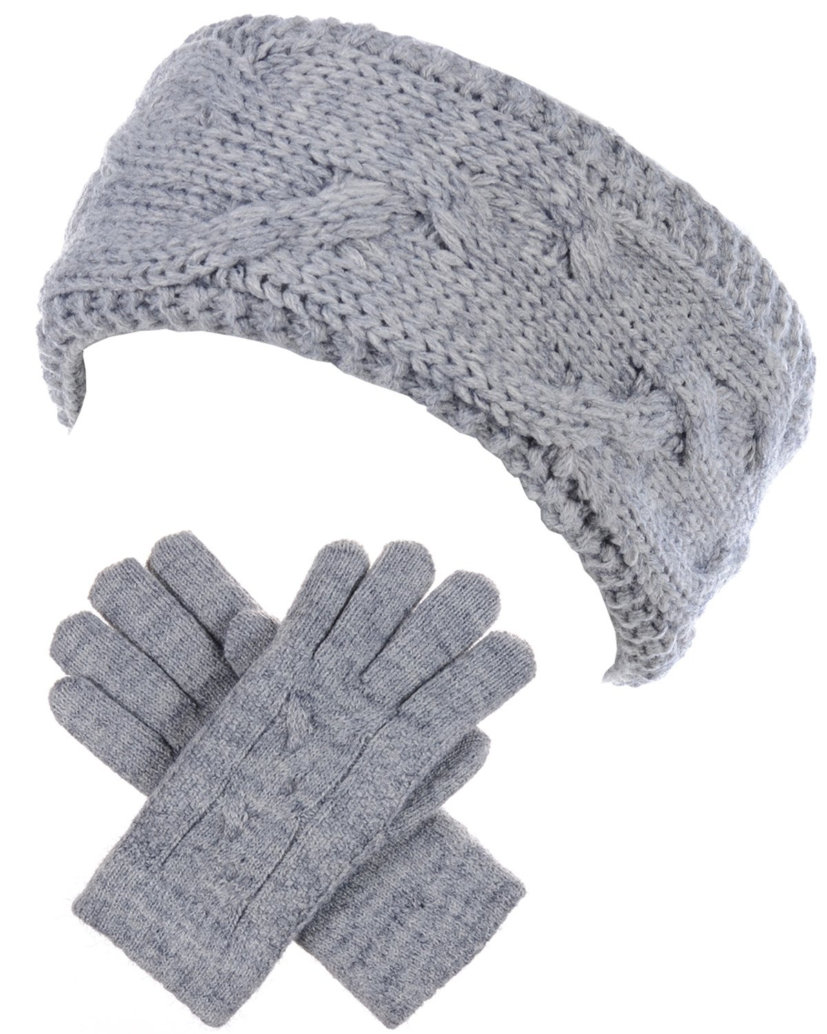 BYOS Winter Chic Plush Sherpa Fleece Lined Knitted Gloves & Headband Wrap Ear Warmer Set (Cable Knit Heather Gray)
