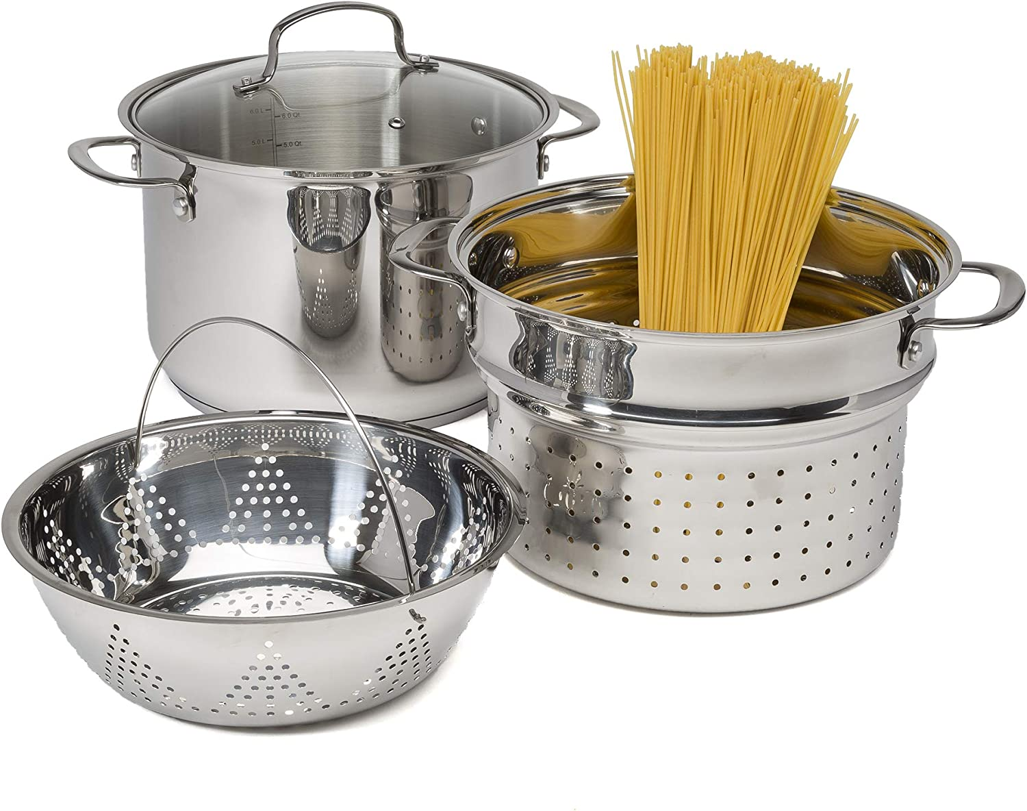 Goodful Stainless Steel 8 Quart Multi-Cooker Cookware Set, 4 Piece Pasta/Steamer