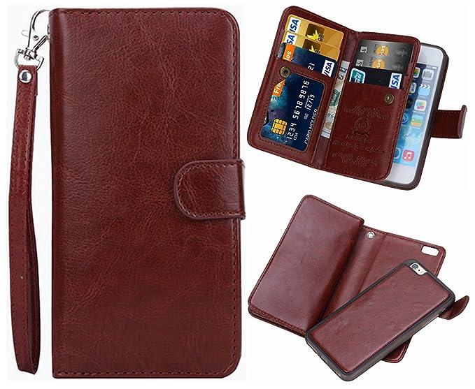 finest selection afef5 c124b iPhone 5/5S/SE 2 in 1 Wallet Case,Hynice Folio Flip PU Leather Case  Magnetic Detachable Slim Back Cover Card Holder Slot Wrist Strap Wallet for  ...