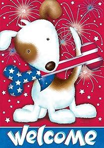 "Briarwood Lane Festive Fido Patriotic Garden Flag Dog Fireworks Bone 12.5"" x 18"""