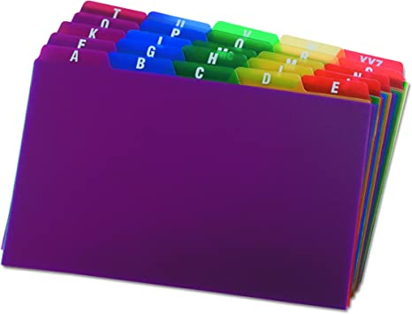 Oxford Poly Index Card Guides, Alphabetical, A-Z, Assorted Colors, 5