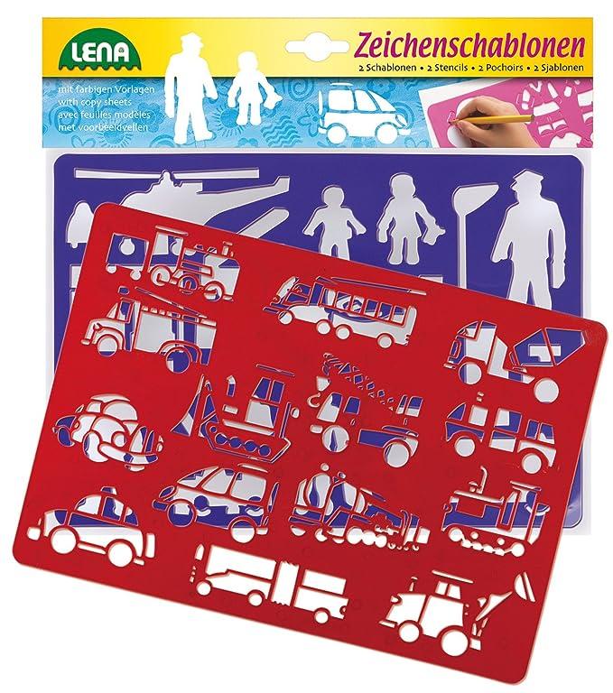 Lena 65773 Malschablonen ca Zeichenschablonen Set Fahrzeuge und Menschen 26 x 19 cm mit 2 Schablonen mit Fahrzeug- und Personenmotiven und zugeh/örige Farbvorlagen Malset f/ür Kinder ab 3 Jahre