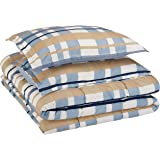 AmazonBasics Easy-Wash Microfiber Kid's Comforter and Pillow Sham Set - Full or Queen, Blue Traditional Plaid