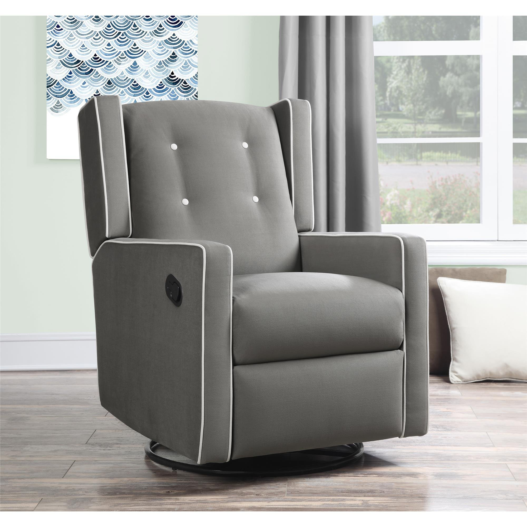 Baby Relax Mikayla Swivel Gliding Recliner, Gray Microfiber by Baby Relax (Image #3)