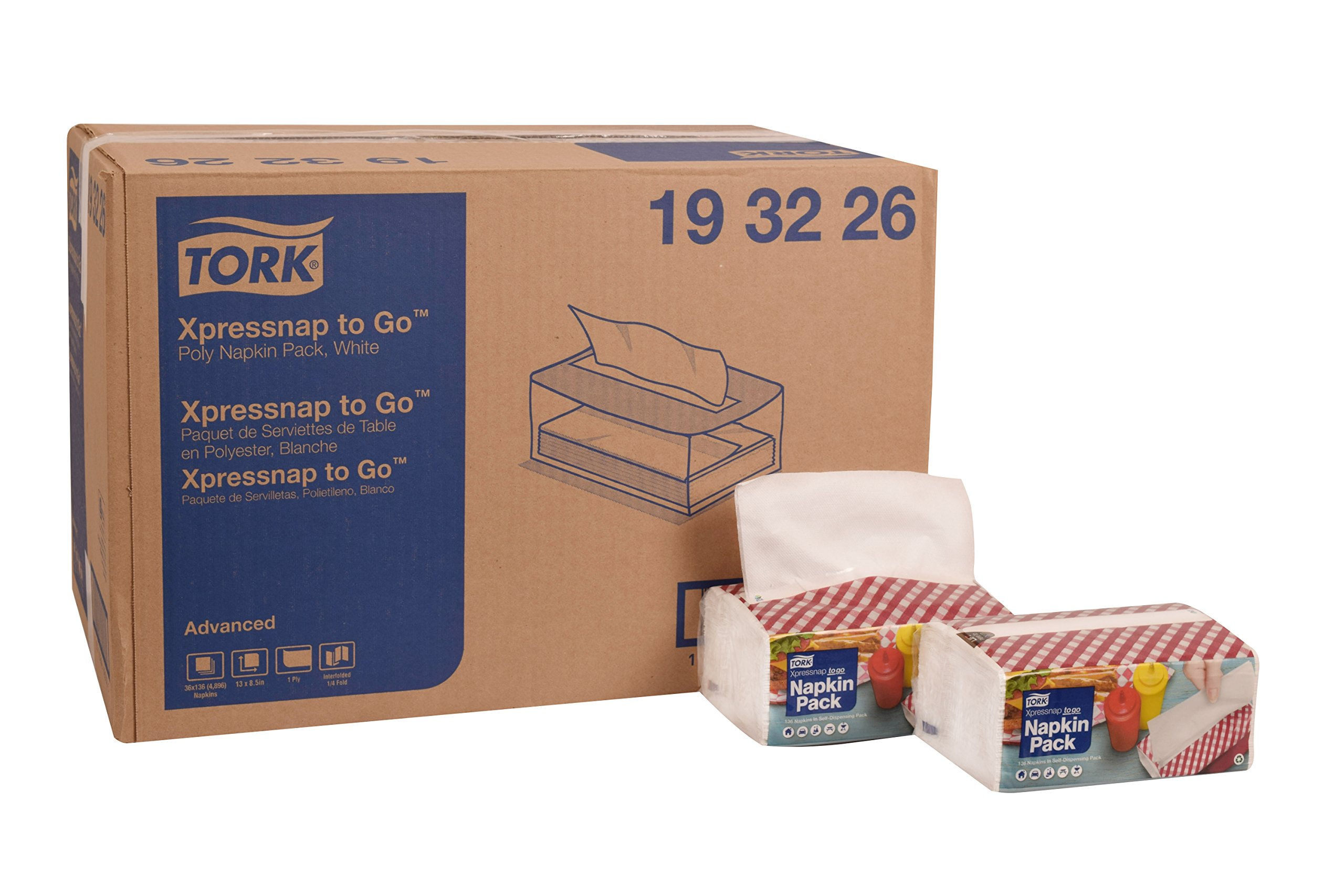 Tork 193226 Xpressnap to Go Portable Napkin Pack, Interfold, 1/4 Fold, 1-Ply, 8.5'' Length x 13.0'' Width, White (Case of 36 Packs, 136 per Pack, 4,896 Napkins)