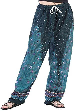 b5cd8760ea2 CandyHusky Women Summer Drawstring Baggy Loose Fit Hippie Boho Gypsy Harem  Pants (Peacock Feather 2