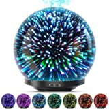 Essential Oil Diffuser, 3D Glass 200ml Galaxy Ultrasonic Aromatherapy Oils Humidifier with 7 Colors Lights, Waterless…