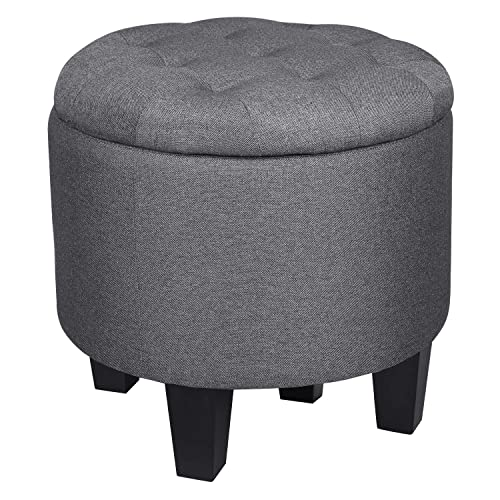 SONGMICS Storage Ottoman, Round Fabric Footstool with Storage, Plywood Frame, Solid Wood Legs, Holds up to 440 lb, Dark Gray ULSF51GYZ