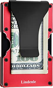 Lindenle Womens Minimalist Slim Wallet RFID Blocking Aluminum Card Holder Money Clip (Red)