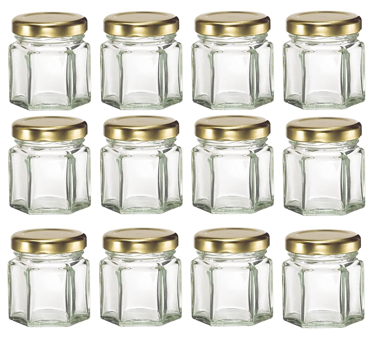 Amazon.com: Nakpunar 12 pcs, 1.5 oz Mini Hexagon Glass Jars with ...