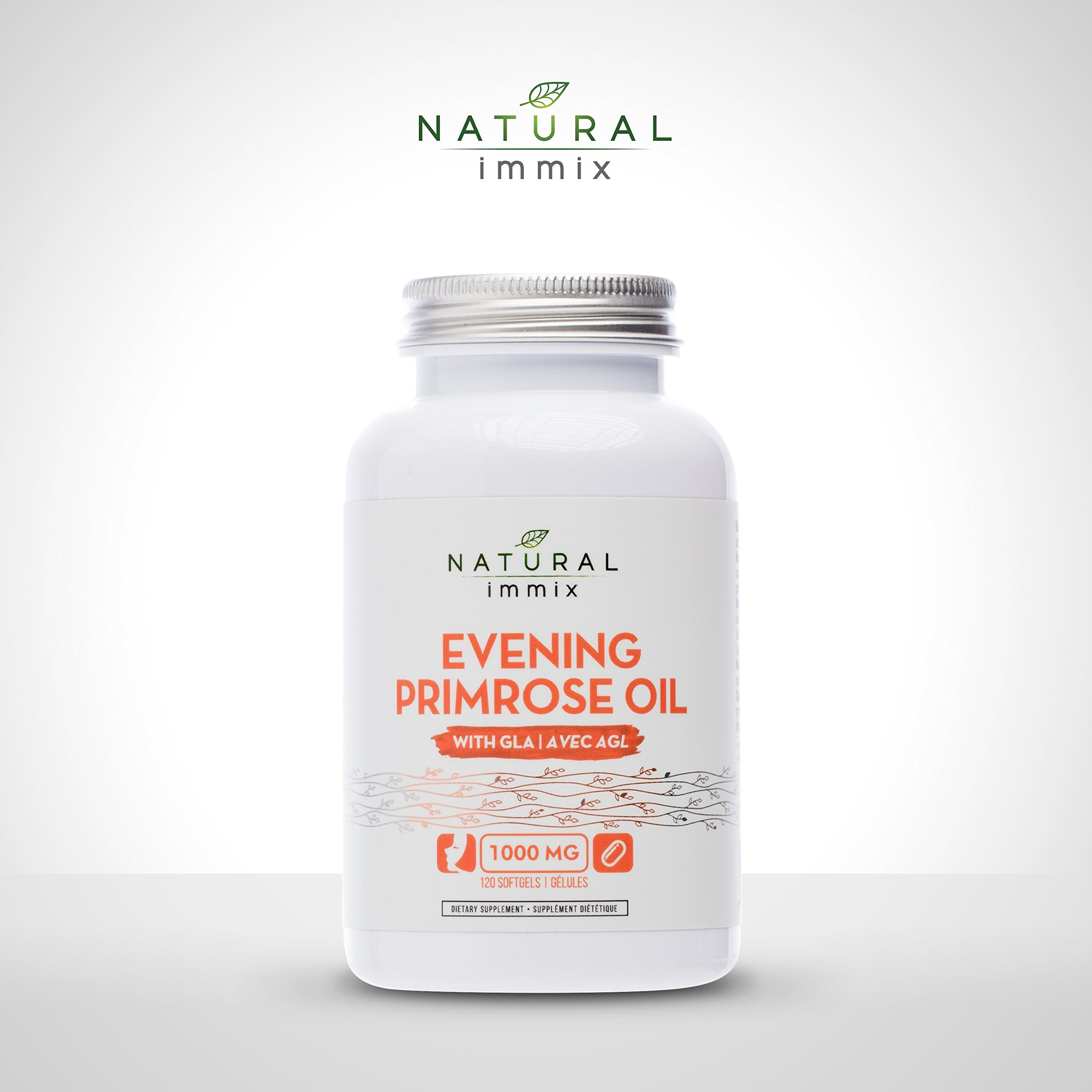 Natural immix - Evening Primrose Oil, Cold-Pressed, 10% GLA, Supports Hormonal Balance, Helps Relieve Menopause Symptoms, 120 Softgels