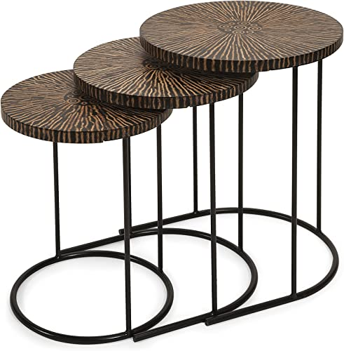 IMAX Hoki Coco Shell Tables, Set of 3
