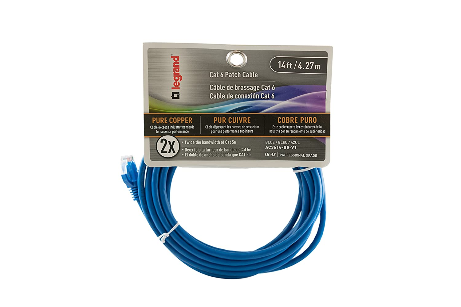 Legrand On Q Ac36014bev1 Cat 6 Patch Cable 10gbps Ethernet Speed Wiring Standards Computer Networking Cord Data 14 Feet Blue Electrical Cables