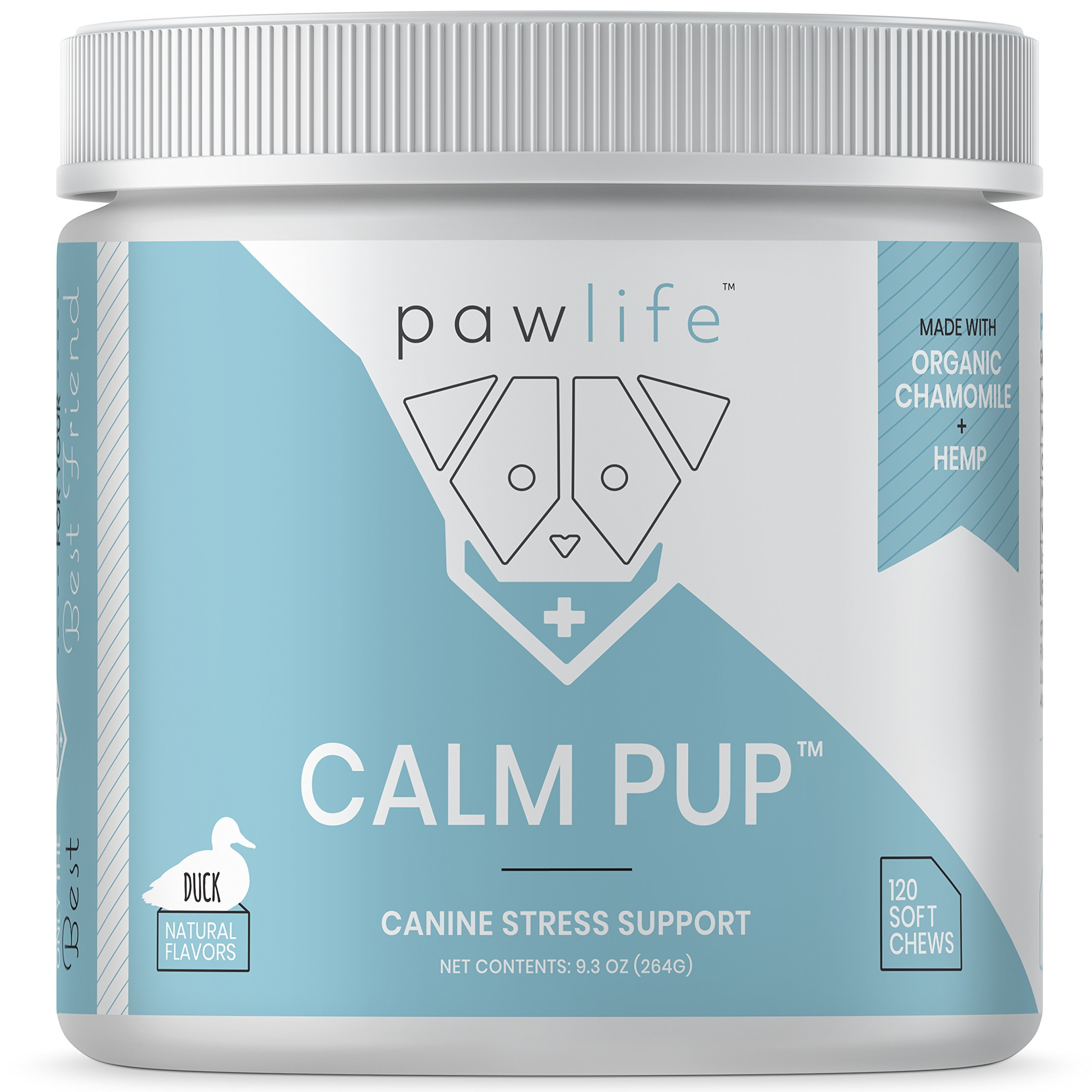 pawlife Calming Treats for Dogs - Hemp Oil Infused Soft Chews for Dog Anxiety Support- 120 Dog Calming Treats (Duck)