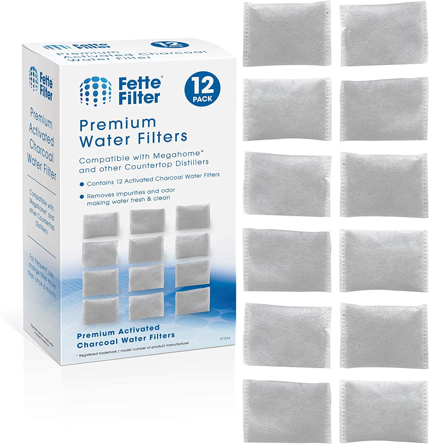 Fette Filter - Countertop Distillers Water Filters Compatible with Megahome and Other Counter Top Water Distiller Models. Pack of 12
