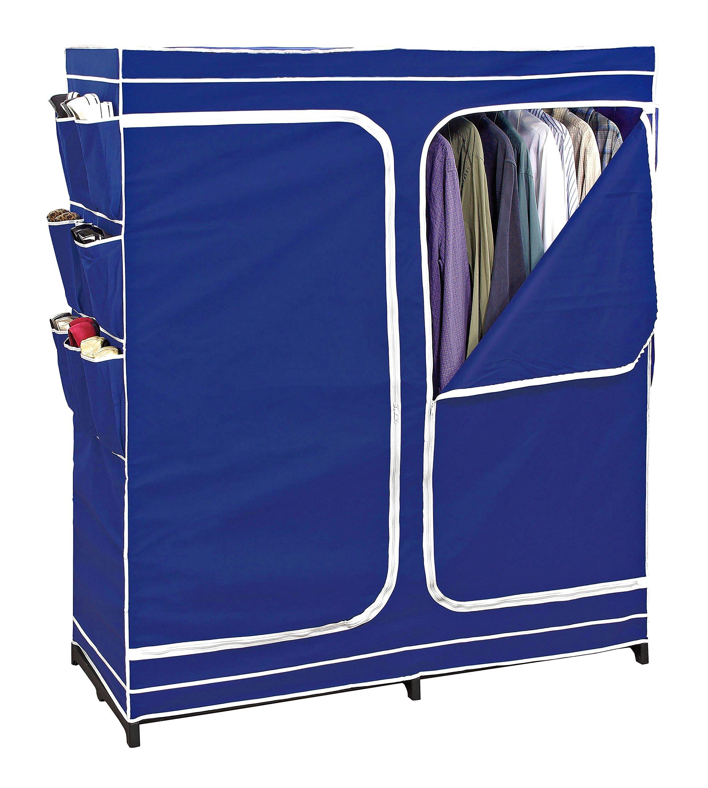 Clothes Closet Double Door Storage Closet Seasonal Storage Unit Wardrobe Organizer Easy Zip, Non Woven Breathable Fabric, Navy, Free Standing Closet, Clothes Closet