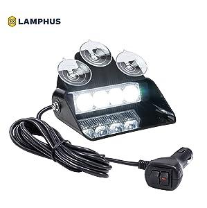 LAMPHUS SolarBlast SBWL14 Emergency Vehicle LED Dash Light [4W LED] [32 UNIQUE FLASH PATTERNS] [ADJUSTABLE ANGLE] Strobe Light for Dash, Deck & Windshield - White