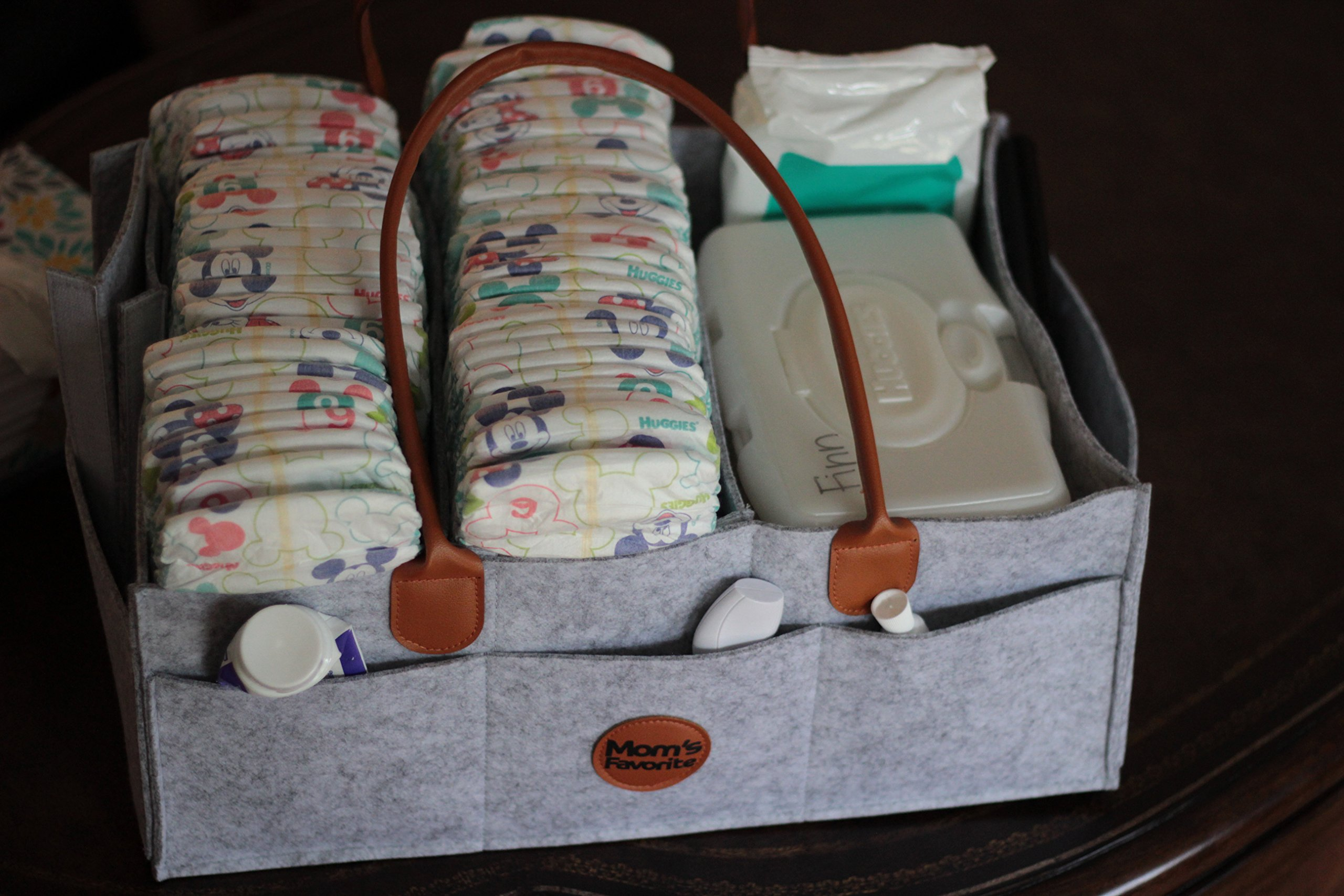 Mom's Favorite diaper caddy | Large baby nursery diaper organizer for diapers and baby wipes