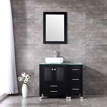BATHJOY 36u0026quot; Black Modern Wood Bathroom Vanity Cabinet Square Ceramic  Vessel Sink Top Free Faucet