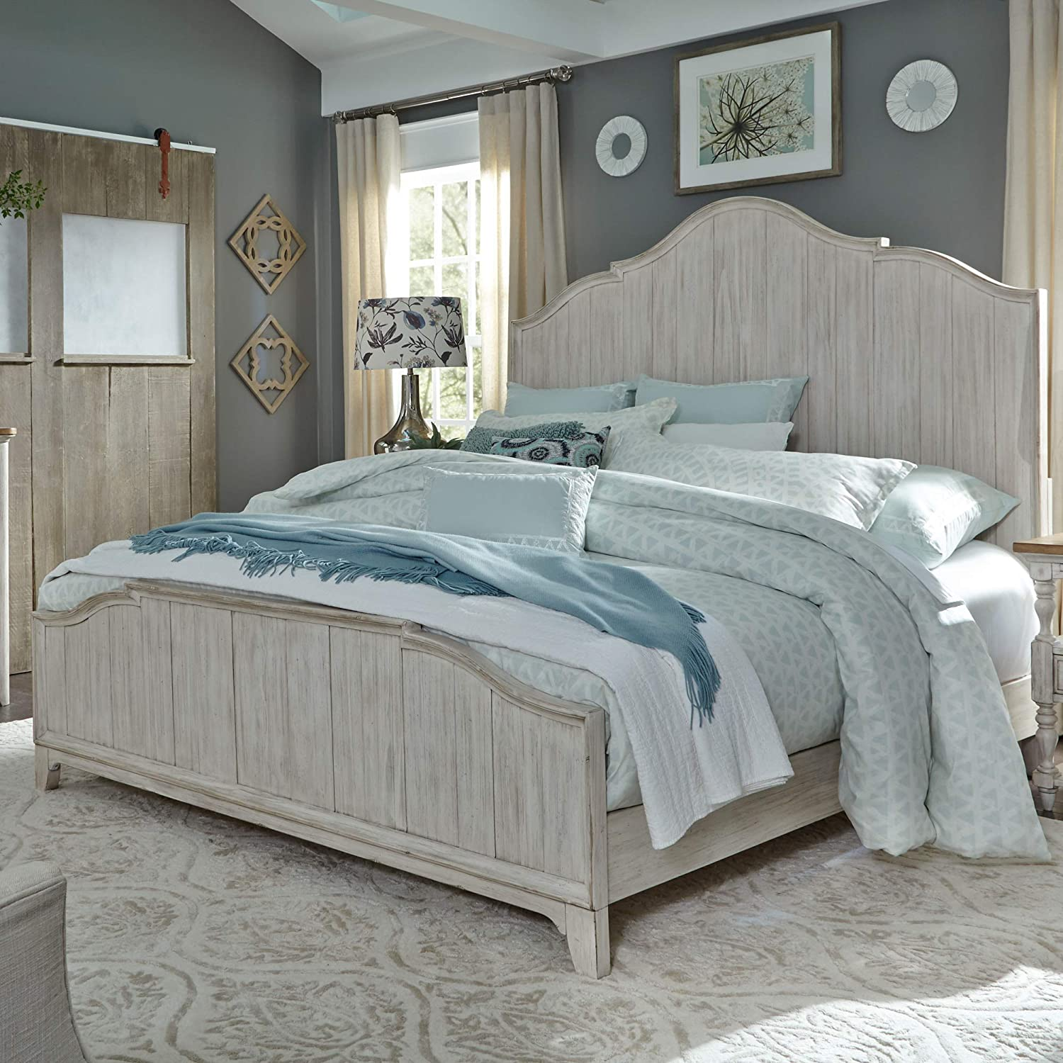 Liberty Furniture Industries Farmhouse Reimagined King Panel Bed, White