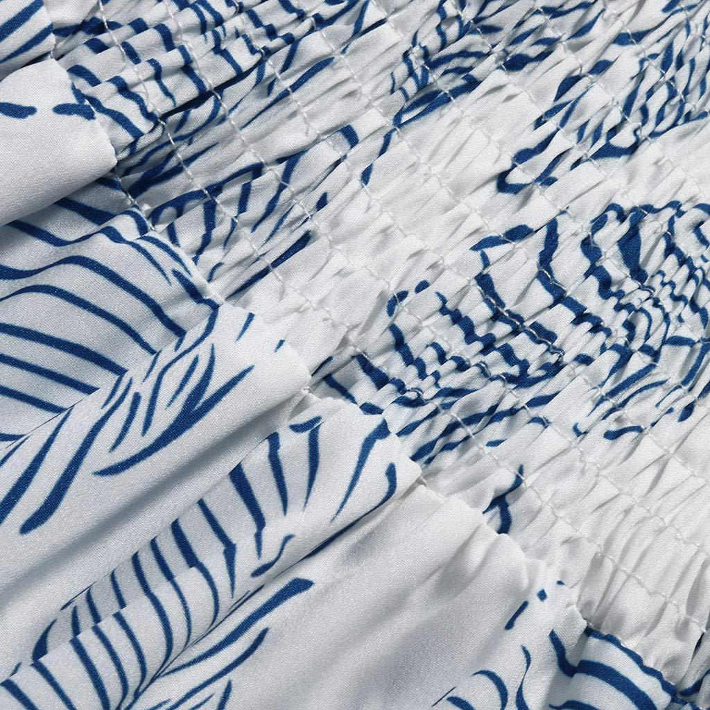❤️❤️ Women's Ruffle Tie Summer Boho Spaghetti Strap Semi-Backless Button Down A-Line Midi Dress with Belt Blue by HTHJSCO-Dress (Image #4)