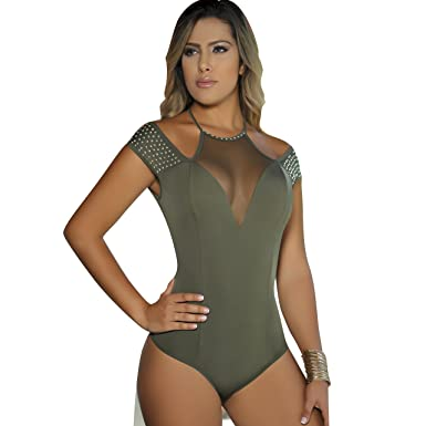 Aranza Blusa Faja Colombiana de Mujer - Bodysuit Body Shaper Blouse Womens Body Suit Shapewear Olive