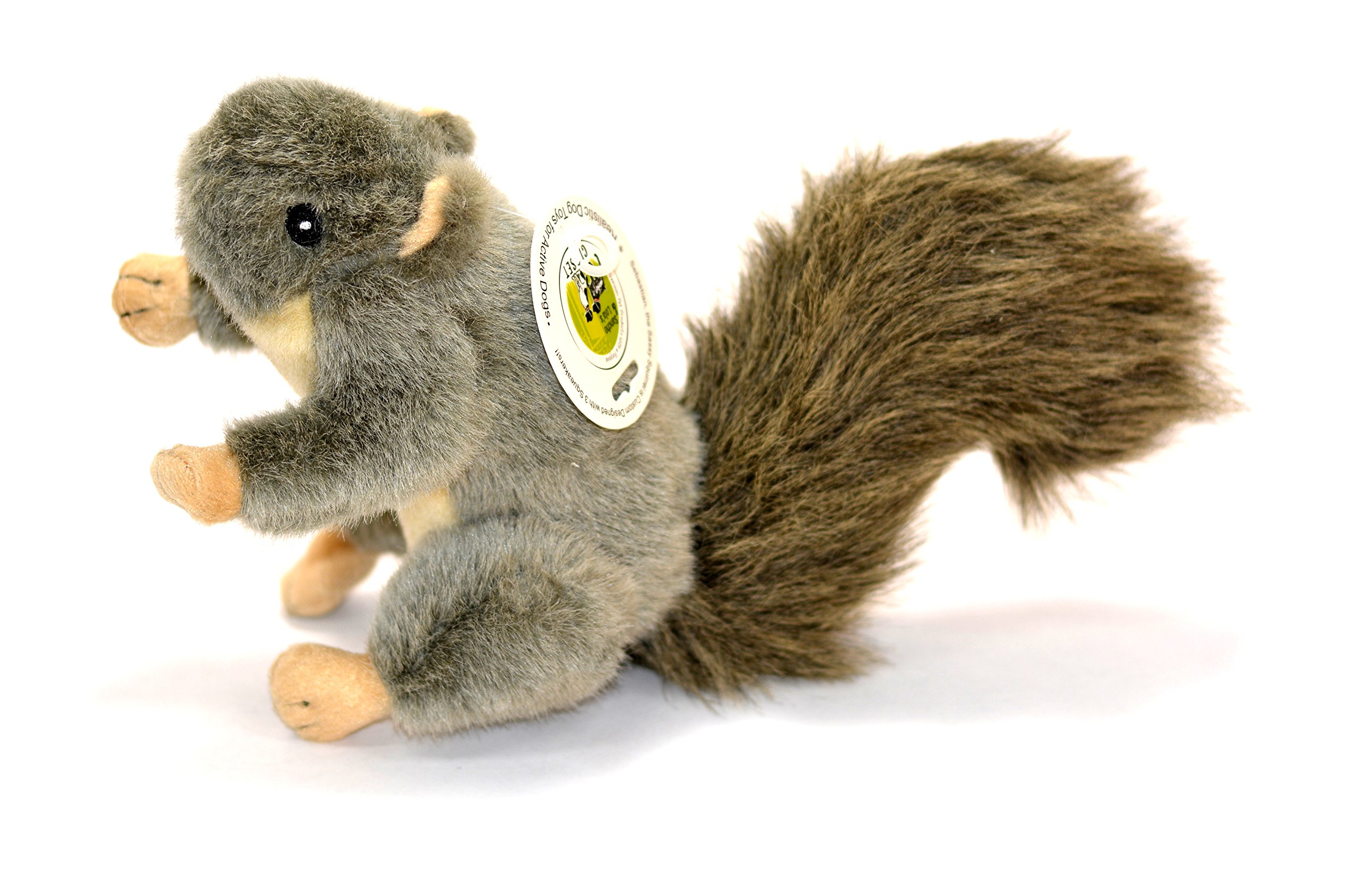 'Sebastian' Plush Squirrel Dog Toy with Squeaker by Sancho & Lola's MEDIUM (9-inch) Supporting Rescue Dogs Since 2015