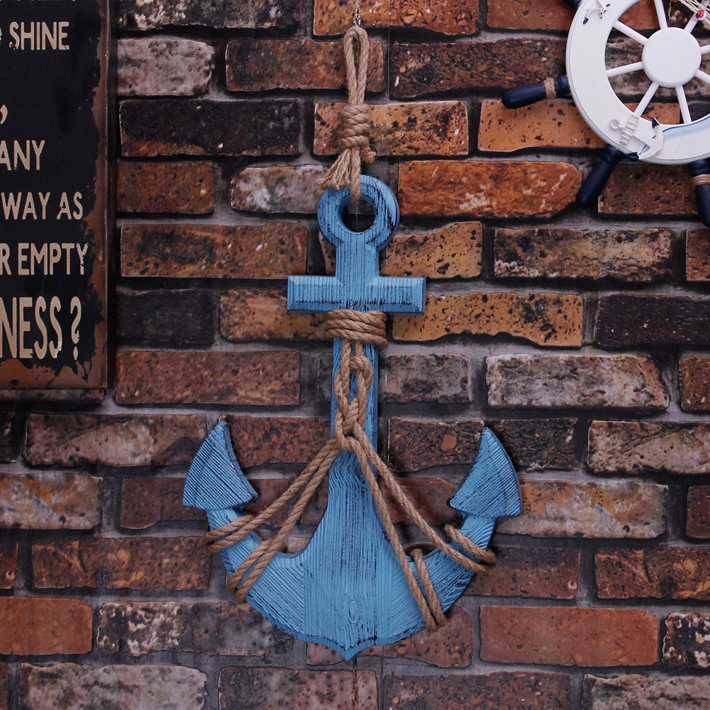Waroom Home Wooden Anchor with Rope and Crossbar, Blue Wood Nautical Decor Anchor Wall Hanging Ornament Plaque, 18''H 12.5''W