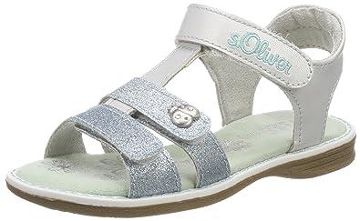 s.Oliver Mädchen 38201 T-Spangen Sandalen, Silber (Silver Comb), 32 EU