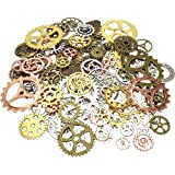 100-Piece DIY Assorted Antique Cog Wheel Steampunk Gears Charms Pendant Clock Watch Wheel Gear for Bracelets, Necklace, Crafting, Jewelry Making Accessory-Mixed Colors