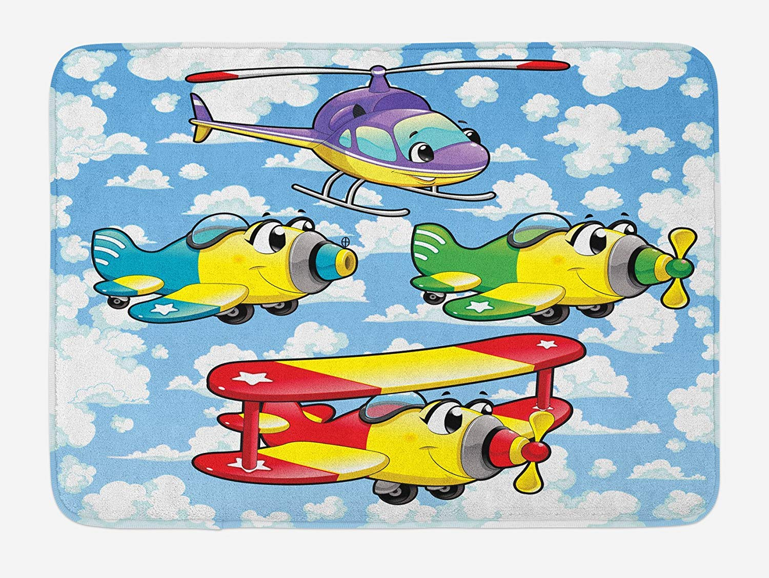 Amazon Com Cartoon Bath Mat Kids Cute Airplanes And Helicopters