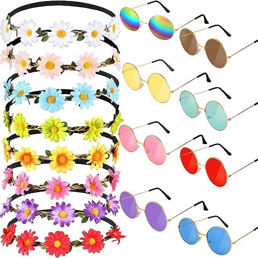 16 Pièces Lunettes de Soleil Rondes Hippie Bandeau Fleur de Marguerite Bandeaux Tournesol pour Accessoires de Fête de Costume d'Été