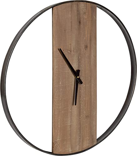Kate and Laurel Ladd Modern Farmhouse 24″ Diameter Numberless Wood and Metal Round Wall Clock