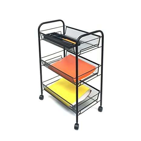 6f62be3bded2 Mind Reader 3 Tier Mobile Cart,All-Purpose Utility Cart, Black