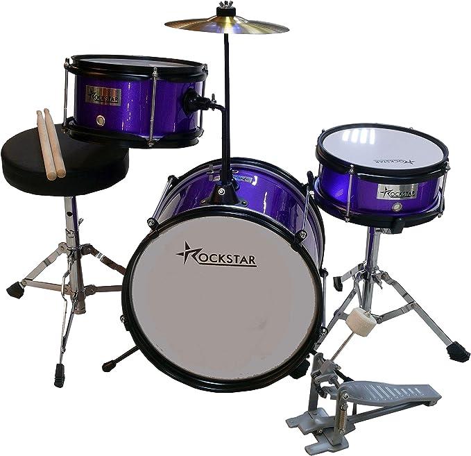 Bateria Infantil para niños de madera Rockstar GC1044PP purpura metalizado: Amazon.es: Instrumentos musicales
