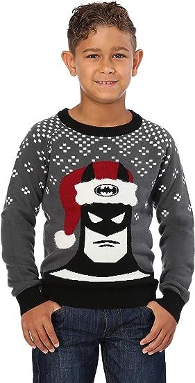 FUN.COM, INC. Batman Holiday Hat Kids Ugly Christmas Sweater - M Black