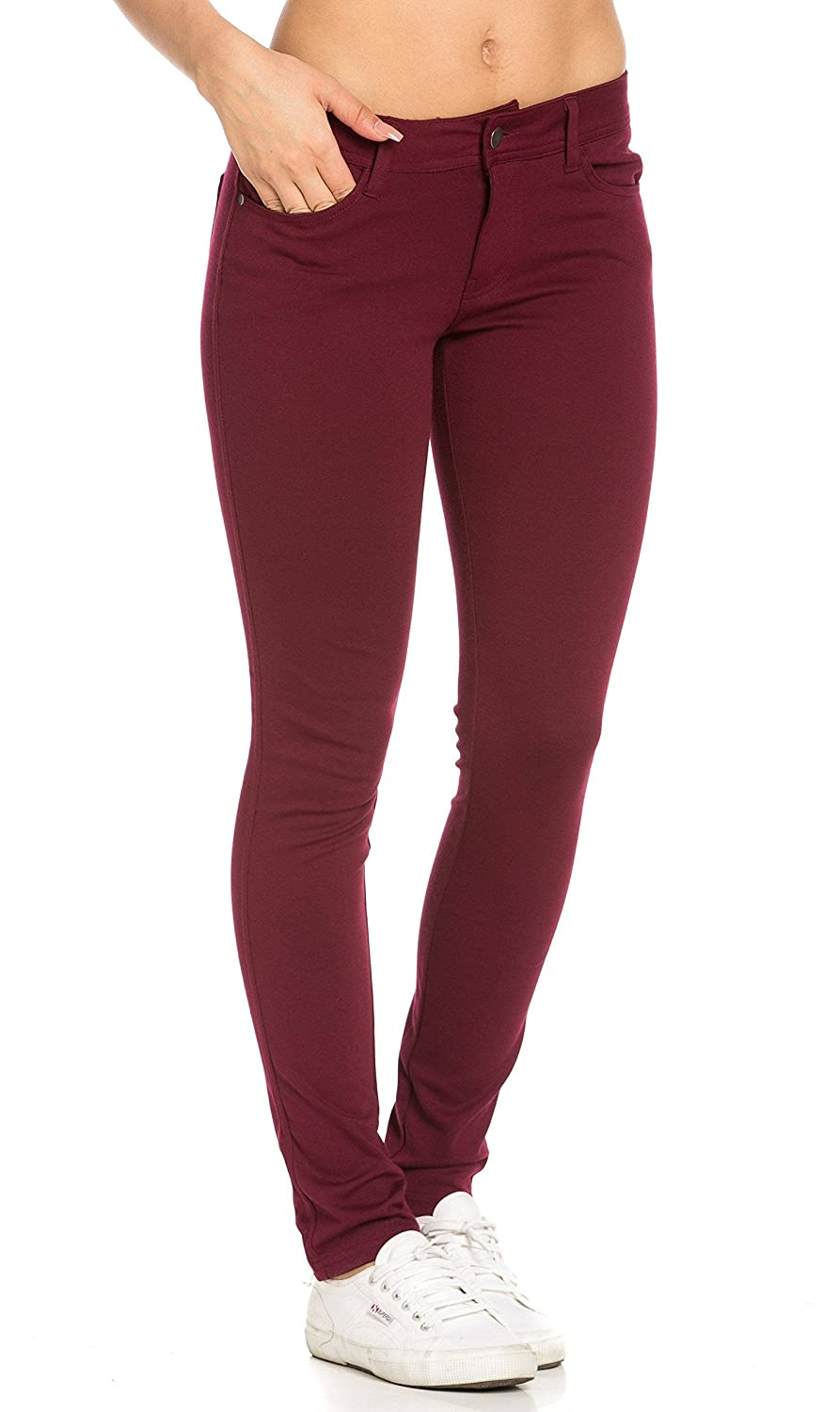 Classic Stretch Knit Skinny Pants in Burgundy (Plus SOHO GLAM Sohogirl.com ACLSKSPNTBRG