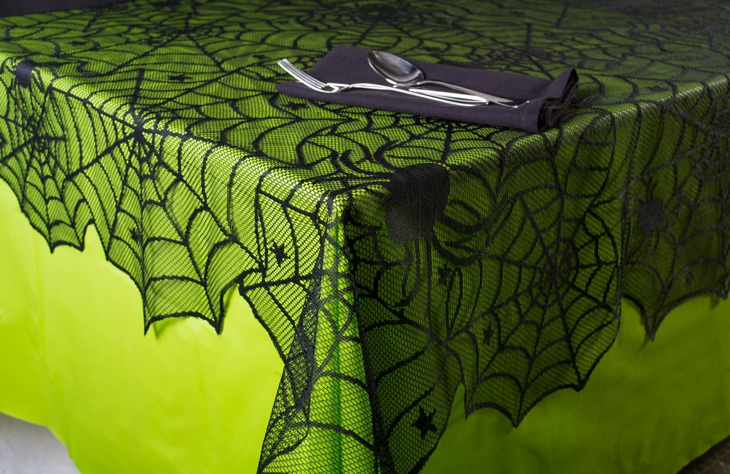 """DII 54x72"""" Rectangular Polyester Lace Tablecloth, Black Spider Web - Perfect for Halloween, Dinner Parties and Scary Movie Nights: Home & Kitchen"""