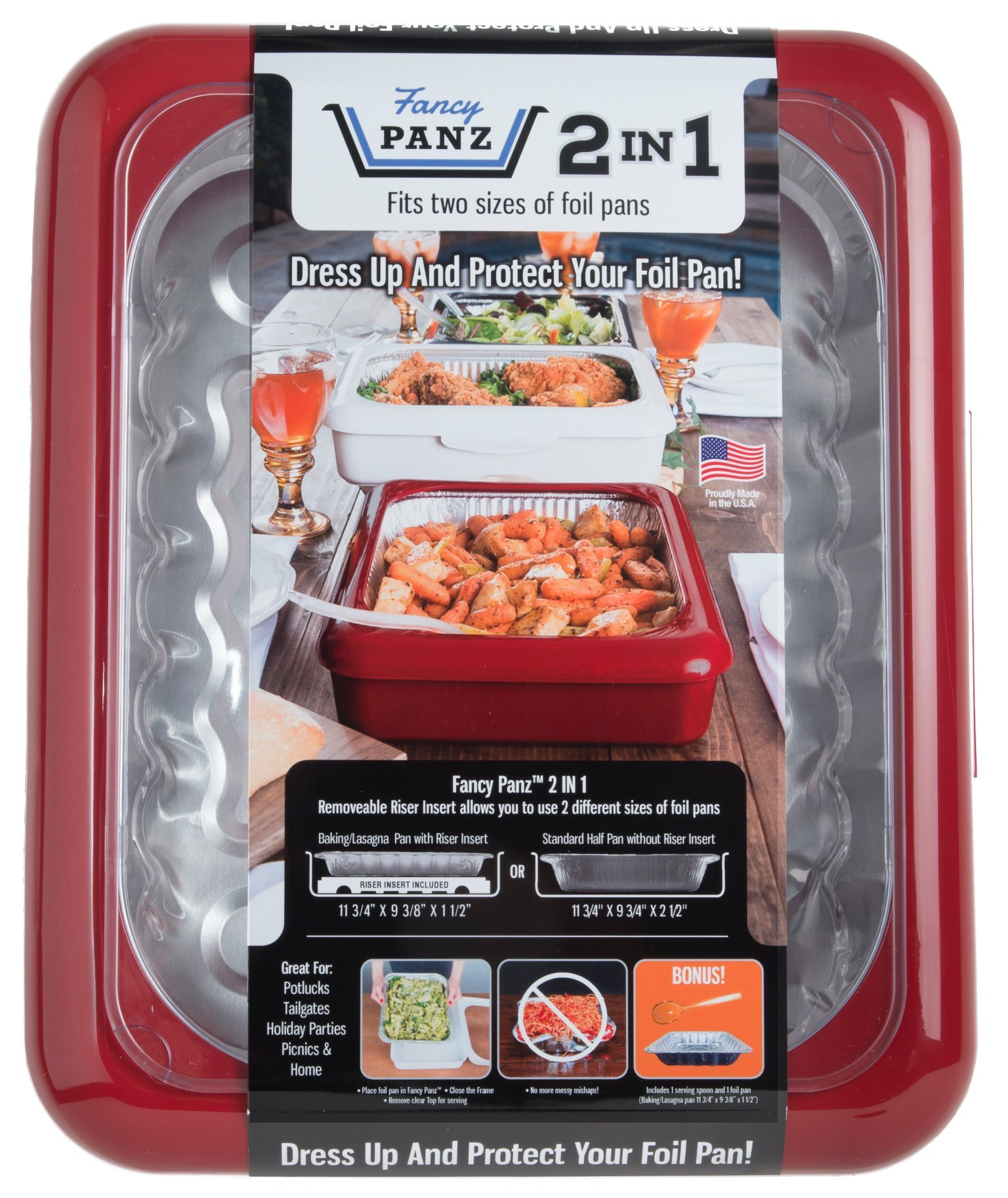 Fancy Panz FP21002 2 In 1 Portable Casserole Carrier for Indoor & Outdoor Use, Fits Shallow or Standard Half Size Foil Pans, Bonus Serving Spoon & Foil Pan Included, Red by Fancy Panz