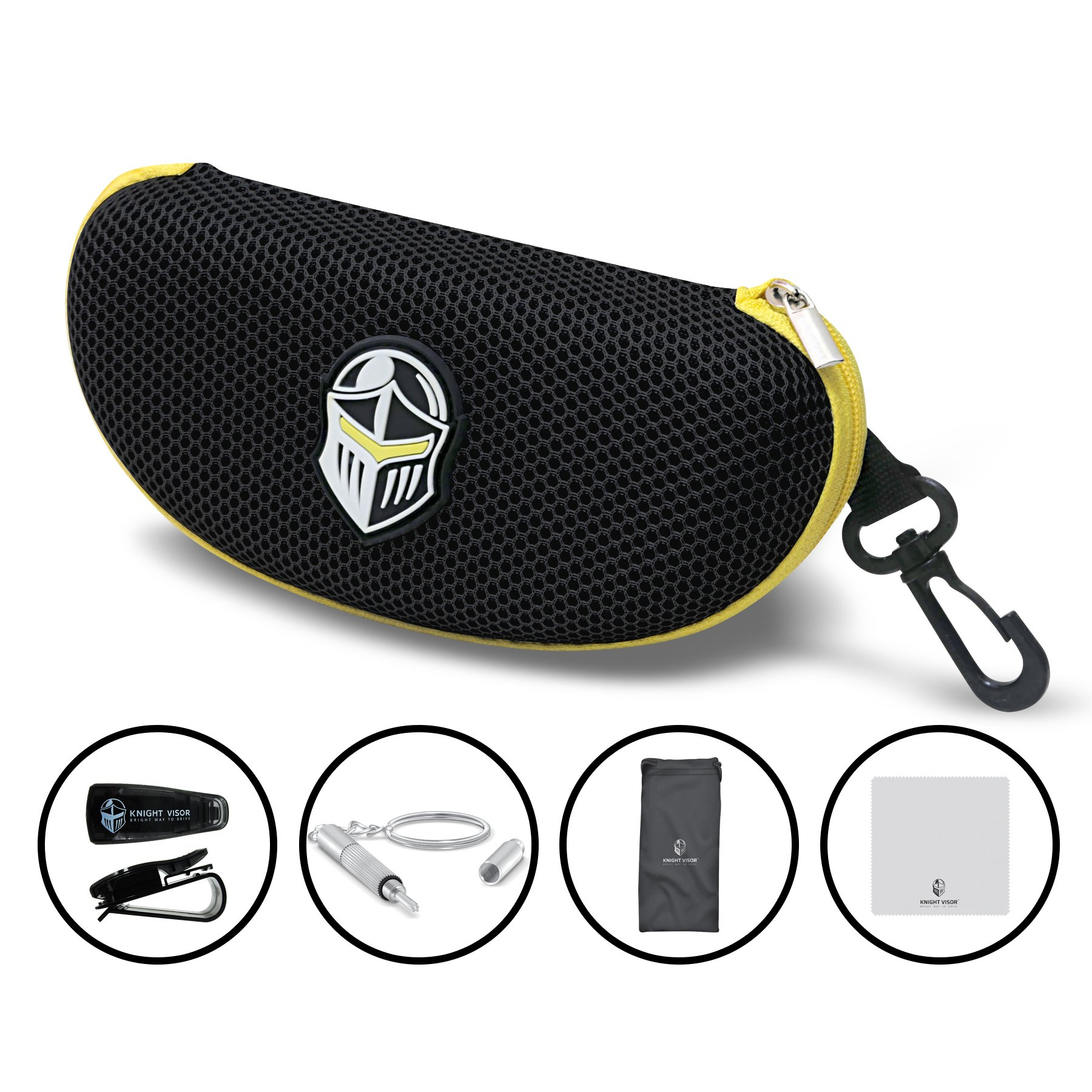 BLUPOND Semi Hard EVA Large Glasses Case with Hanging Hook 5 IN 1 Set for Sports Sunglasses (BlackYellow) by BLUPOND