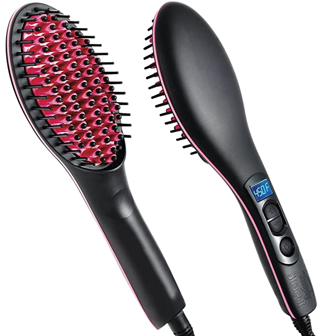 Simply Straight Ceramic Hair Straightening Brush, Black/Pink: Amazon.es: Belleza