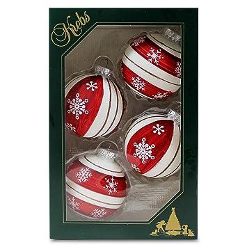 Christbaumkugeln Cremefarben.Weihnachtskugeln Christbaumkugeln 4 Kugeln In Rot Und Cremefarben Mit Schneesternen Mundgeblasener Baumschmuck Aus Glas Mit ø Ca 6 5 Cm