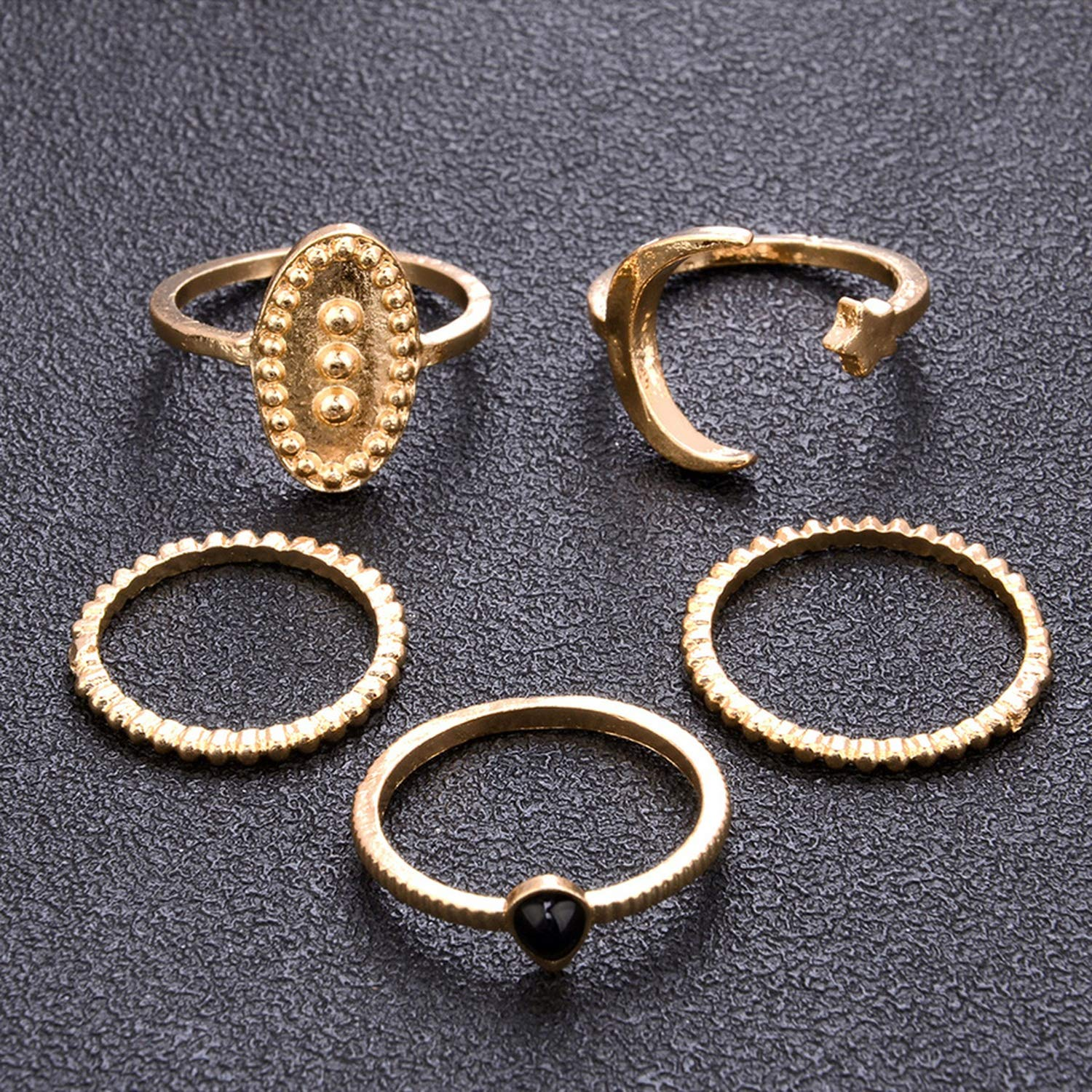 floral hoop Latest Fashion Punk Style Vintage Silver//Gold Knuckle Rings Set for Women Fashion Finger Star Moon Rings with Stone
