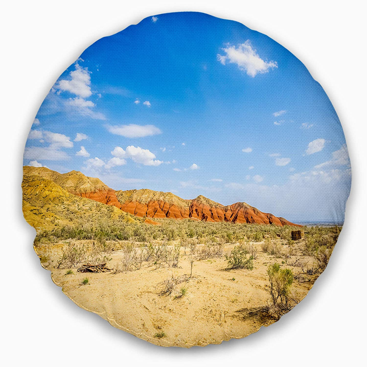 Sofa Throw Pillow 20 Insert Printed On Both Side Designart CU8767-20-20-C Rocky Mountain in Desert Landscape Photo Round Cushion Cover for Living Room