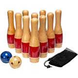 Lawn Bowling Game/Skittle Ball- Indoor and Outdoor Fun for Toddlers, Kids, Adults –10 Wooden Pins, 2 Balls, and Mesh Bag Set by Hey! Play! (11 Inch)